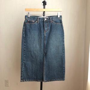 Gap jeans skirt midi pencil blue denim size:2
